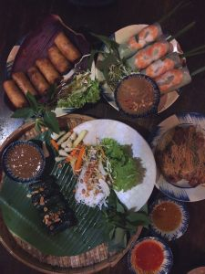 Spread of Vietnamese foods from local restaurant Rice Fields in Ho Chi Minh City