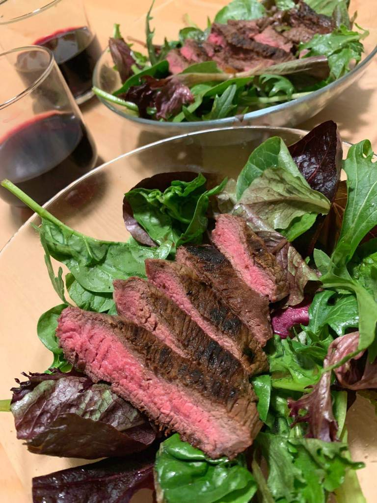 Steak salad and red wine