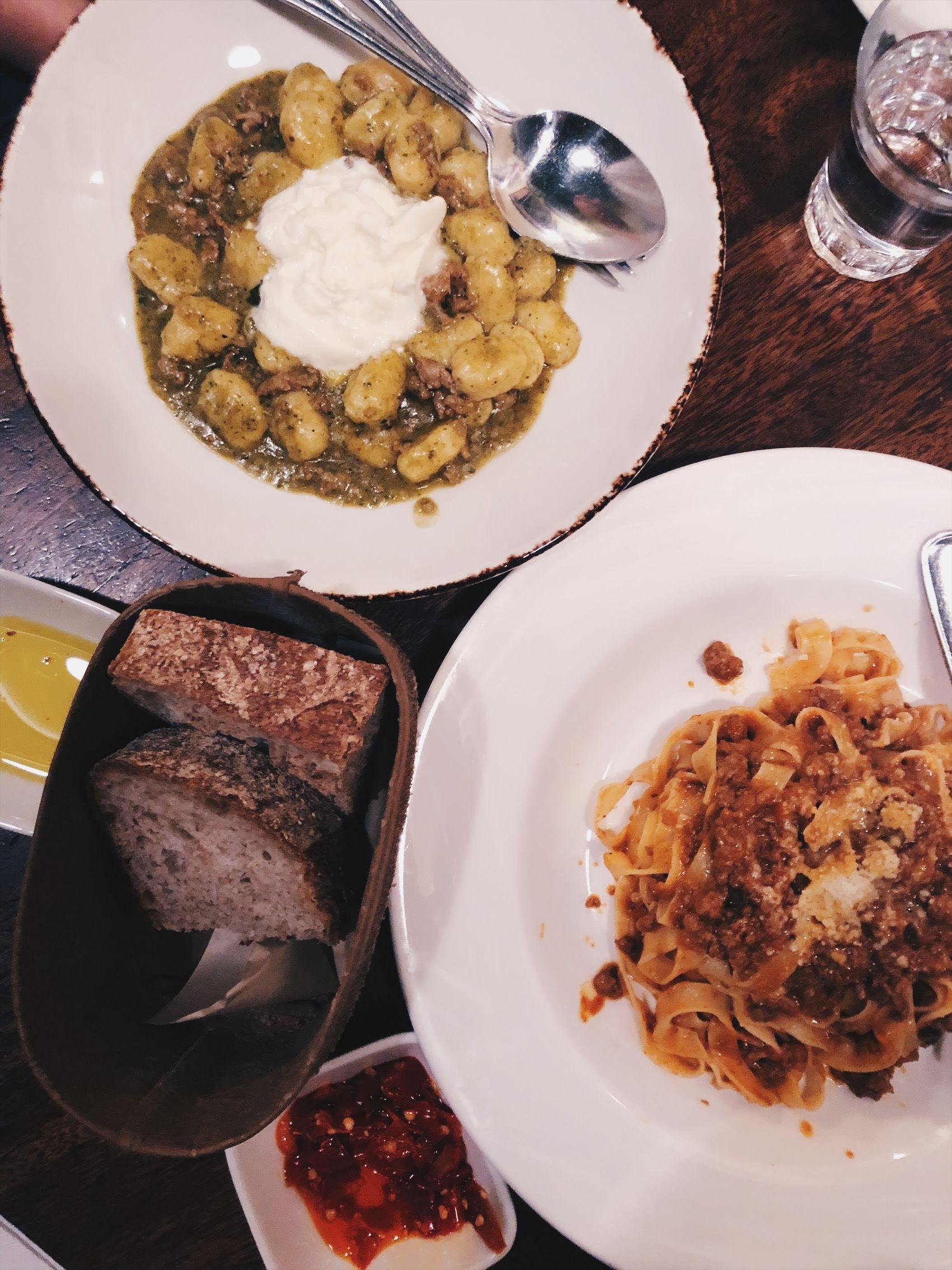 Tagliatelle, gnocchi, and fresh bread