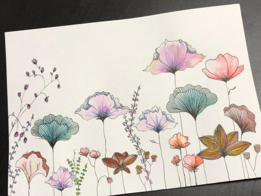 Hand drawn flower doodles with water color